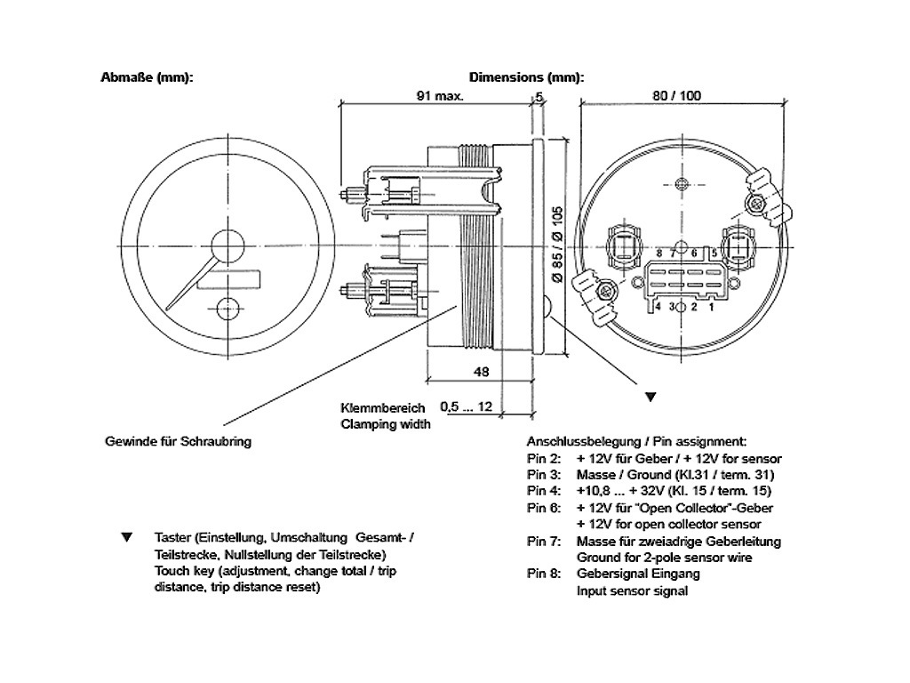 Vdo 220km H 140 Mph Tachometer 80mm Wiring Diagram For Along With